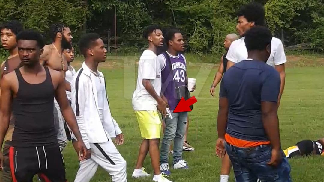 21 Savage Pulls Out Gun At Pool Party Brawl!